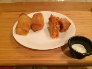 buffalo chicken egg roll plated