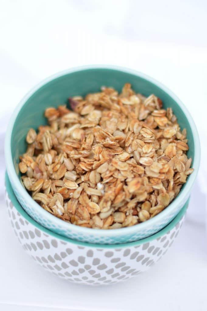 honey maple almond granola bowl