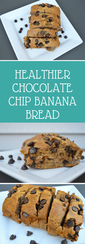 Healthier Chocolate Chip Banana Bread is a lighter recipe that uses no butter, oil or sugar!