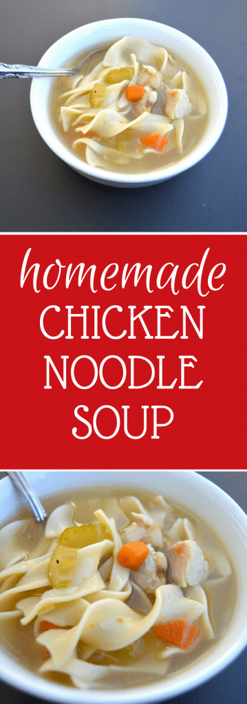If you prep your veggies beforehand, in around 30 minutes this recipe creates a delicious and hearty chicken noodle soup packed to the brim with veggies, chicken and egg noodles.