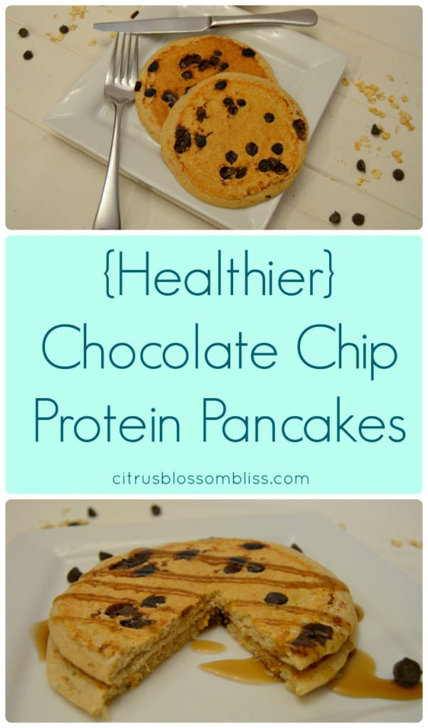 Healthier Chocolate Chip Protein Pancakes