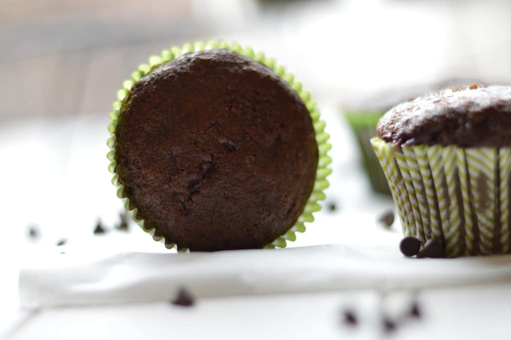 Lightened up double chocolate muffins are the perfect way to satisfy your sweet tooth without feeling guilty in the morning.
