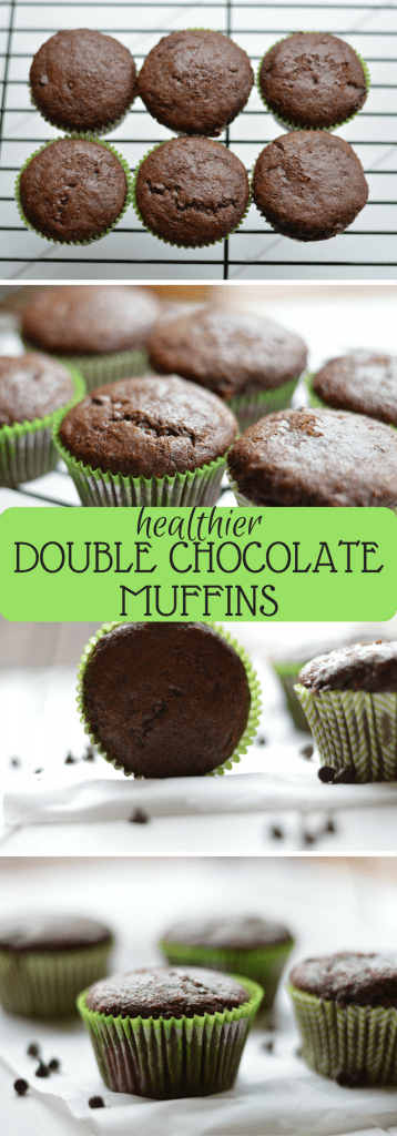 Lightened Up Double Chocolate Muffins are the perfect alternative to a full fat muffin!