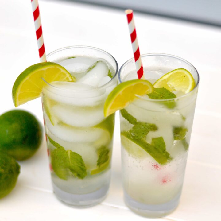 A mojito is the perfect marriage of mint and lime flavors, lightly sweetened with sugar and made crisp and bubbly with the addition of club soda.