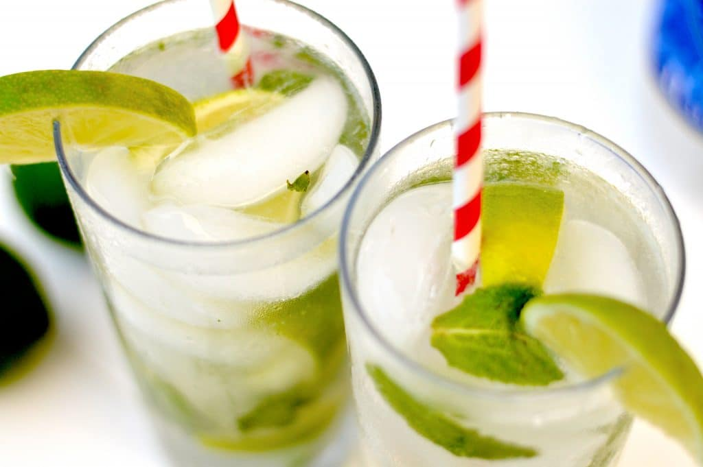 A mojito is the perfect marriage of mint and lime flavors, lightly sweetened with sugar and made super crisp and bubbly with the addition of club soda.