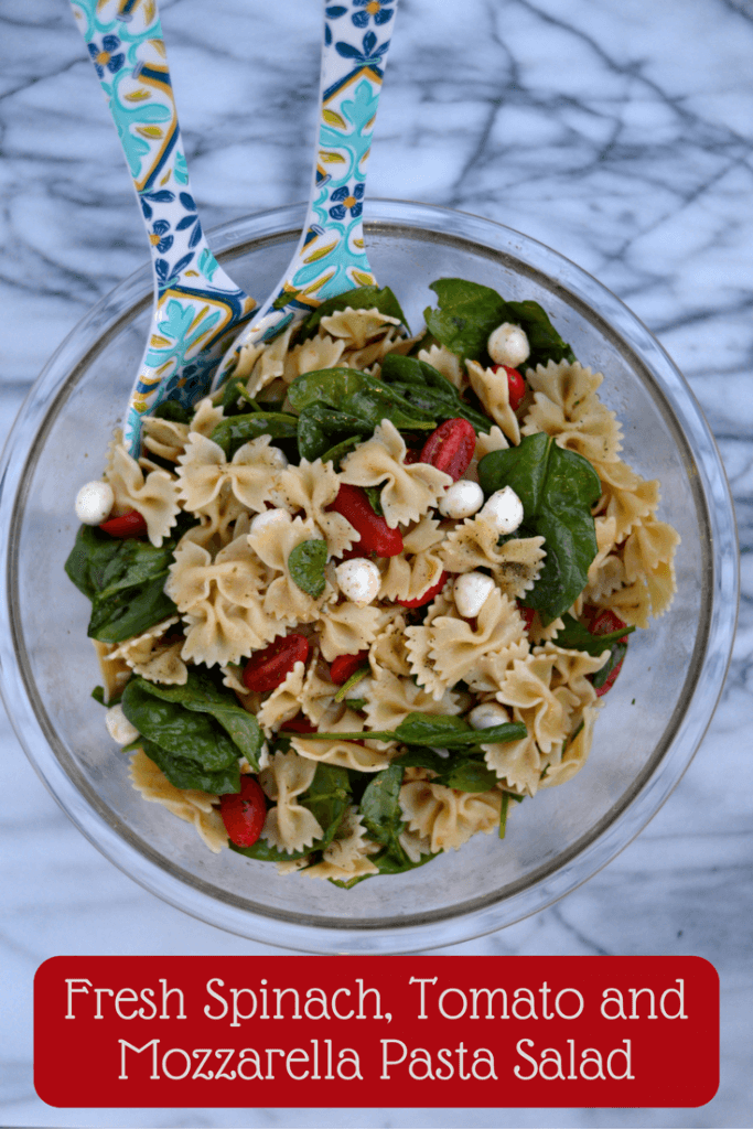 Fresh Spinach, Tomato and Mozzarella Pasta Salad is the perfect side dish for any gathering!