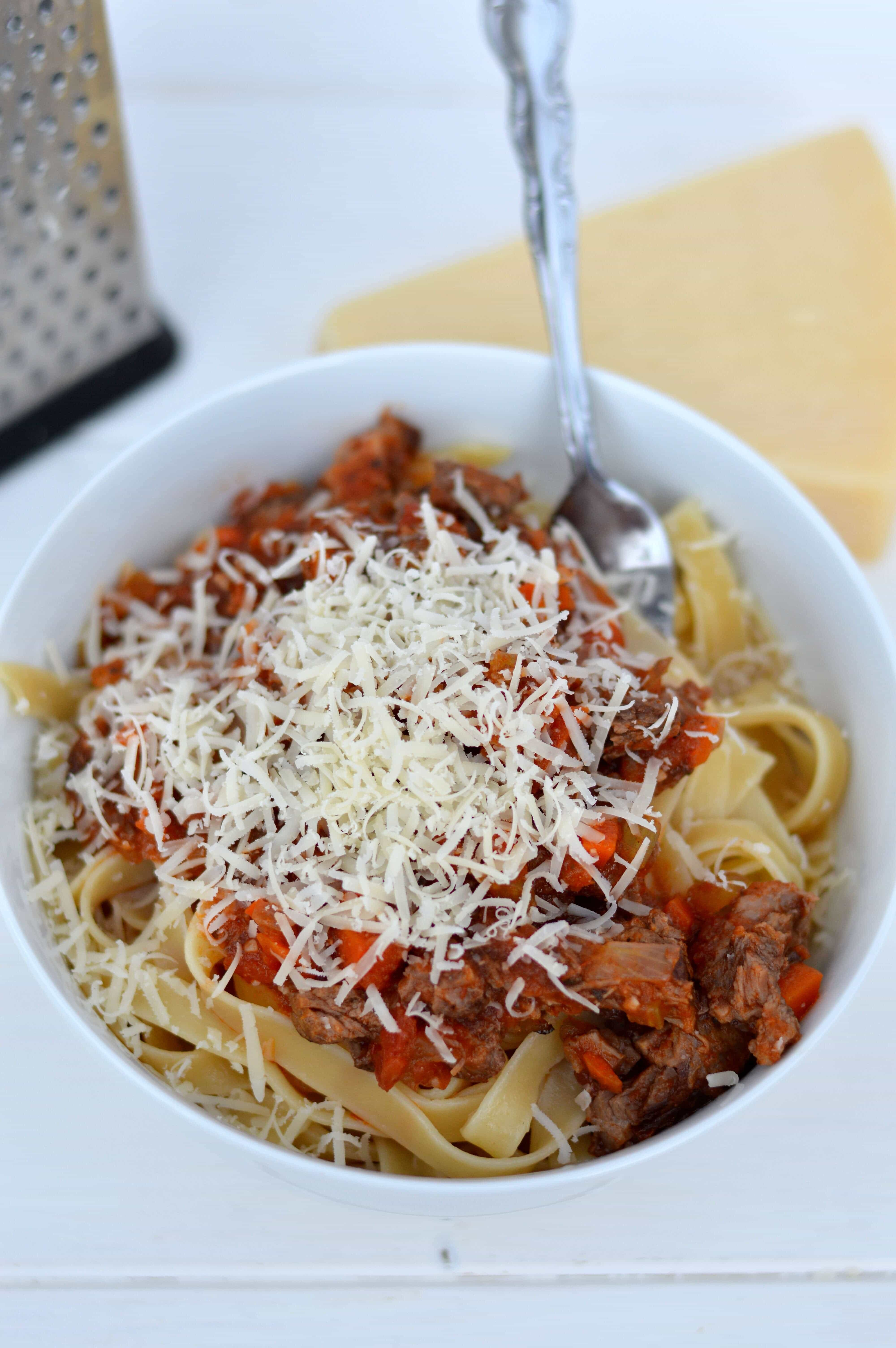 This short rib bolognese is hearty and robust, bursting with flavor from the wine, veggies and sauce.