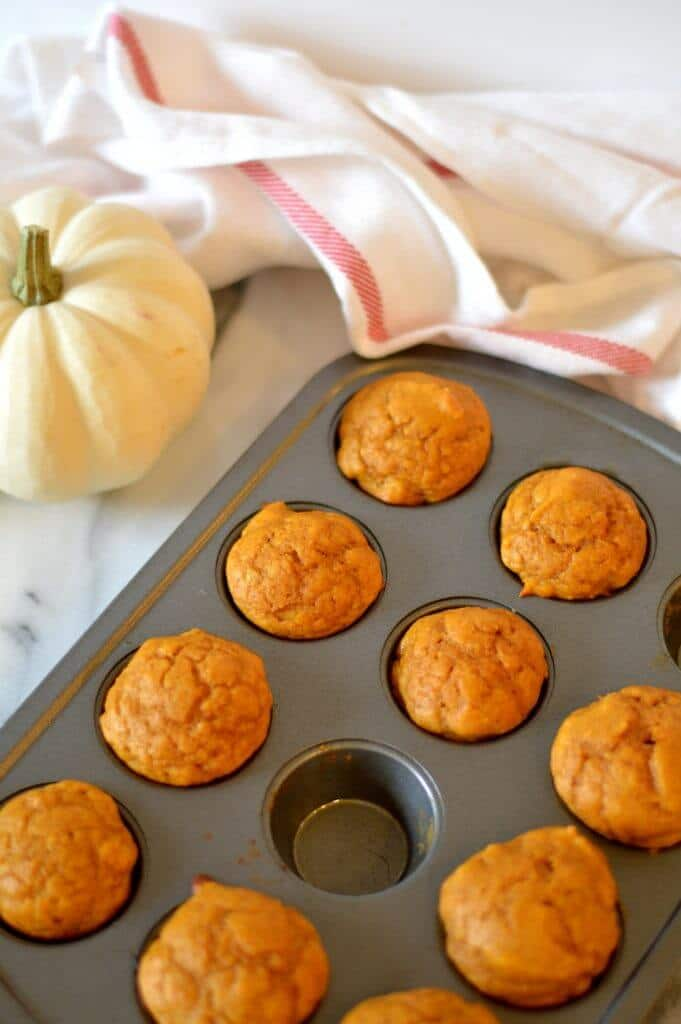 Mini pumpkin muffins are the perfect poppable fall breakfast and pair perfectly with a cup of coffee. These mini muffins are lightened up and contain no butter or oil.