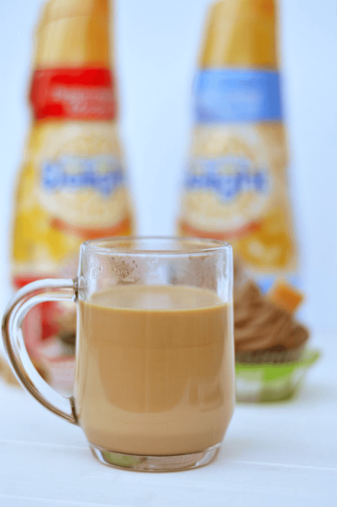 Mocha coffee creamer is essential to pair with your homemade mocha cupcakes!