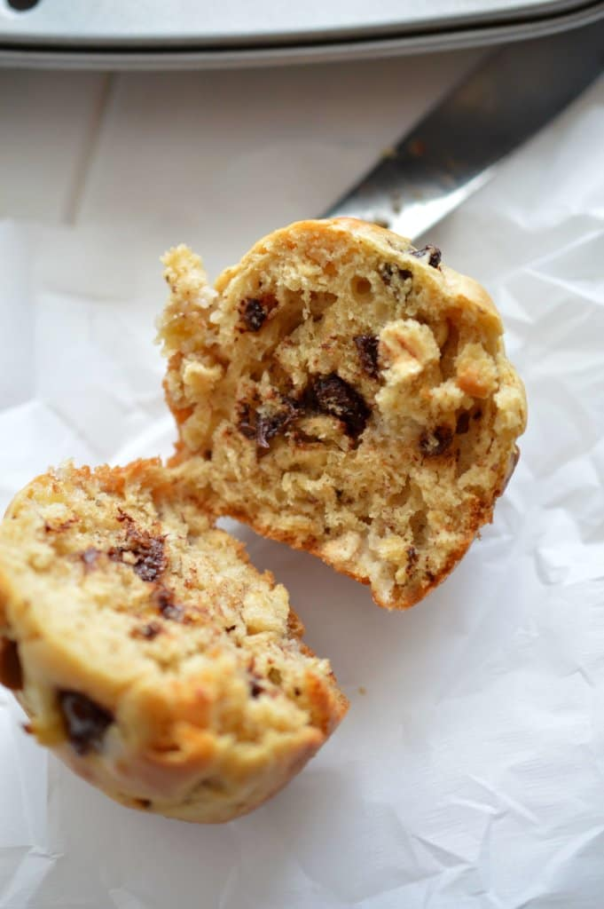 A warm Peanut Butter, Banana and Oatmeal Muffin.