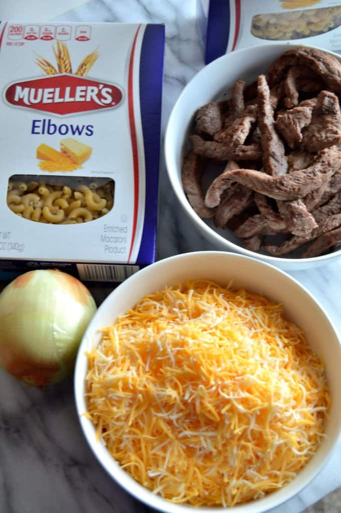 Baked Mac and Cheese Steak Casserole is the ultimate in flavorful comfort food!