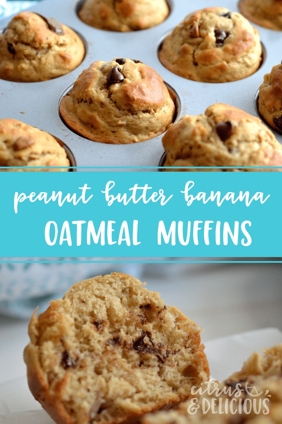 Sky high Peanut Butter, Banana and Oatmeal Muffins with chocolate and peanut butter chips scattered throughout the batter. This one bowl, no mixer required recipe makes delicious muffins in record time!