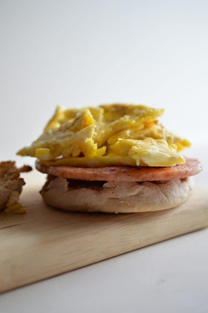 A classic New Jersey breakfast sandwich made a little lighter by preparing it at home. Made with a toasted English muffin, eggs, cheese and pork roll.
