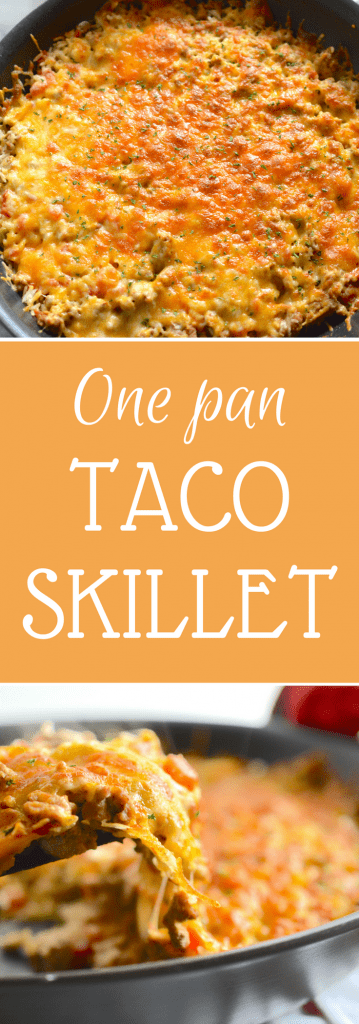 This One Pan Taco Skillet is simple, flavorful and on the table in less than 30 minutes. Plus, one pan means less dishes to clean up after dinner!