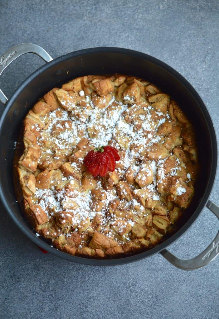 French Toast Casserole is the perfect breakfast or brunch to feed a crowd! Slice this subtly sweet and flavorful breakfast casserole and serve with powdered sugar and maple syrup.