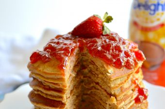 Celebrate a childhood classic by dressing up your PB&J for breakfast! Peanut Butter and Jelly Pancakes are a delicious and fun twist on the popular sandwich.