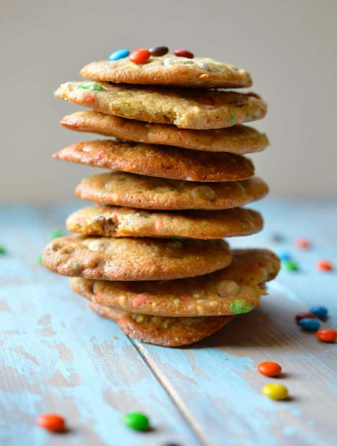 Soft Baked Cookies with Rainbow M&Ms