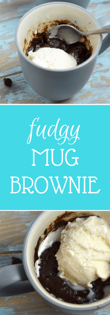 This Fudgy Mug Brownie is perfect for when you want a little something sweet and chocolaty! One minute to fudgy chocolate brownie perfection! #chocolate #brownie #dessert