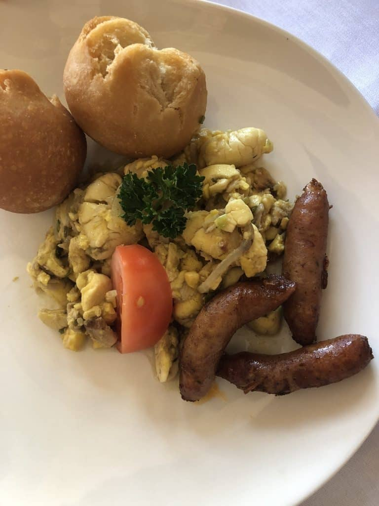 Ackee and saltfish with sausage.