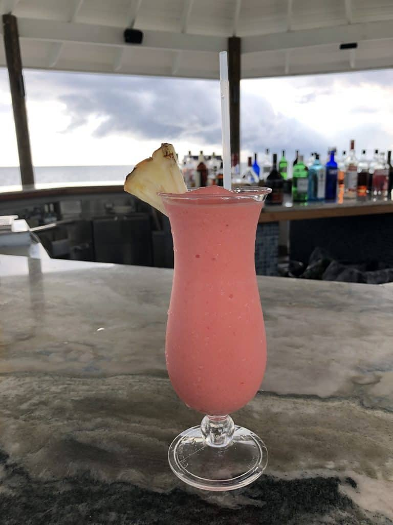 A pink, fruity frozen cocktail from Latitudes at Sandals South Coast.