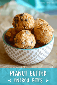 Peanut butter energy bites in a small bowl.
