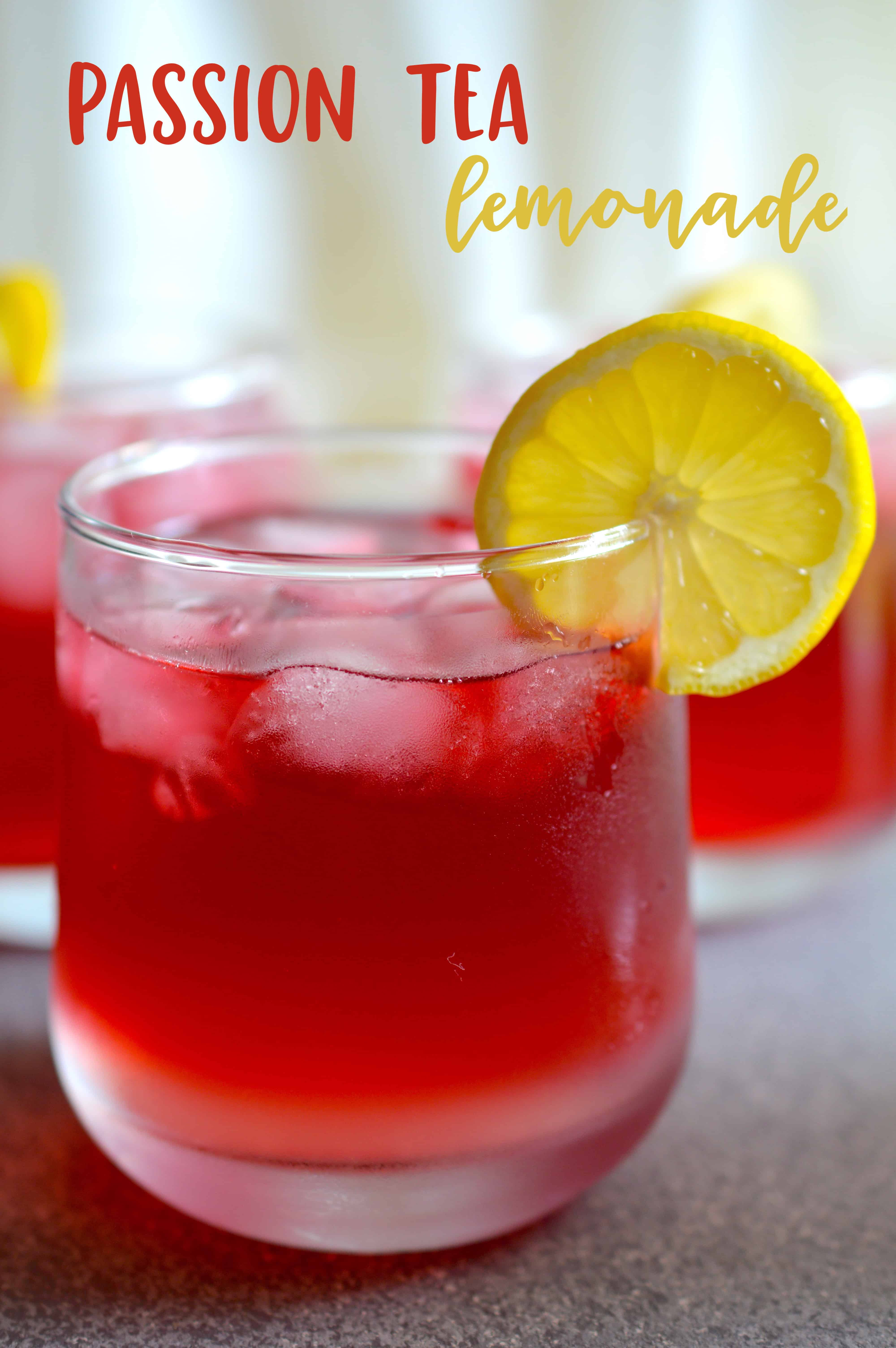 Save so much money by making your own Passion Tea Lemonade at home instead of going to Starbucks. This sweet and refreshing drink is the perfect drink for summer!  #tea #summer #icedtea #passiontea #starbucks #lemonade
