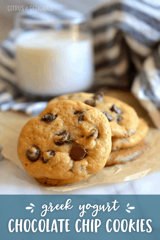 Lighten up the classic chocolate chip cookie by using less butter. Super soft and filled with chocolate chips, these Healthier Greek Yogurt Chocolate Chip Cookies are a crowd favorite!