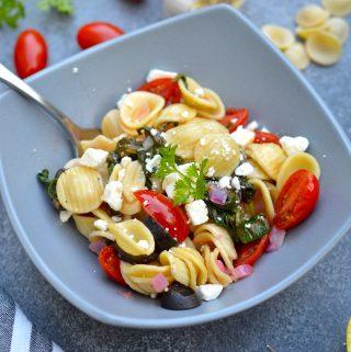 Mediterranean Pasta in a gray bowl.