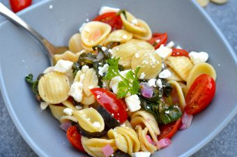 Mediterranean Pasta in a gray bowl.