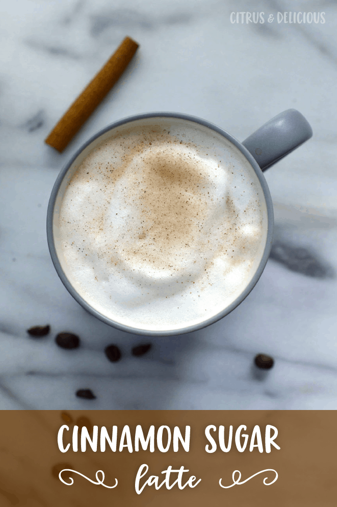 You'll enjoy all the warm and cozy flavors of cinnamon and sugar in this Cinnamon Sugar Latte. Make it at home for a fraction of the price of a coffeehouse latte!