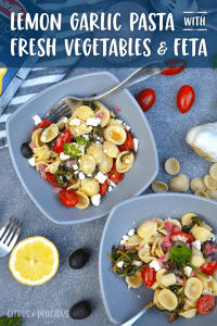 Lemon Garlic Pasta with Fresh Vegetables & Feta - a 20 minute meal that's bursting with light and fresh flavors. Perfect for when you want something a little classier for dinner! #dinner #pasta