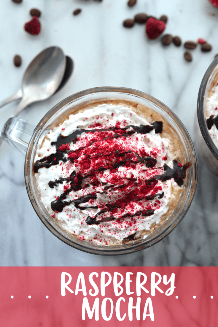 This decadent and rich Raspberry Mocha hits all the right notes - deeply chocolaty and rich, slightly sweet from raspberries and topped with cool whipped cream. Make your own coffeehouse favorite at home for a fraction of the cost.  #ad #ToraniSauceObsession #chocolate #mocha #coffee