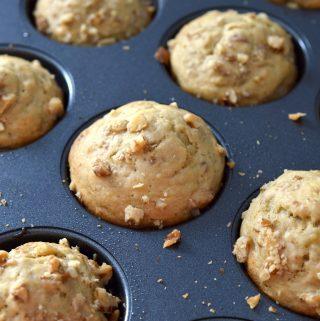 Banana Walnut Muffins in pan