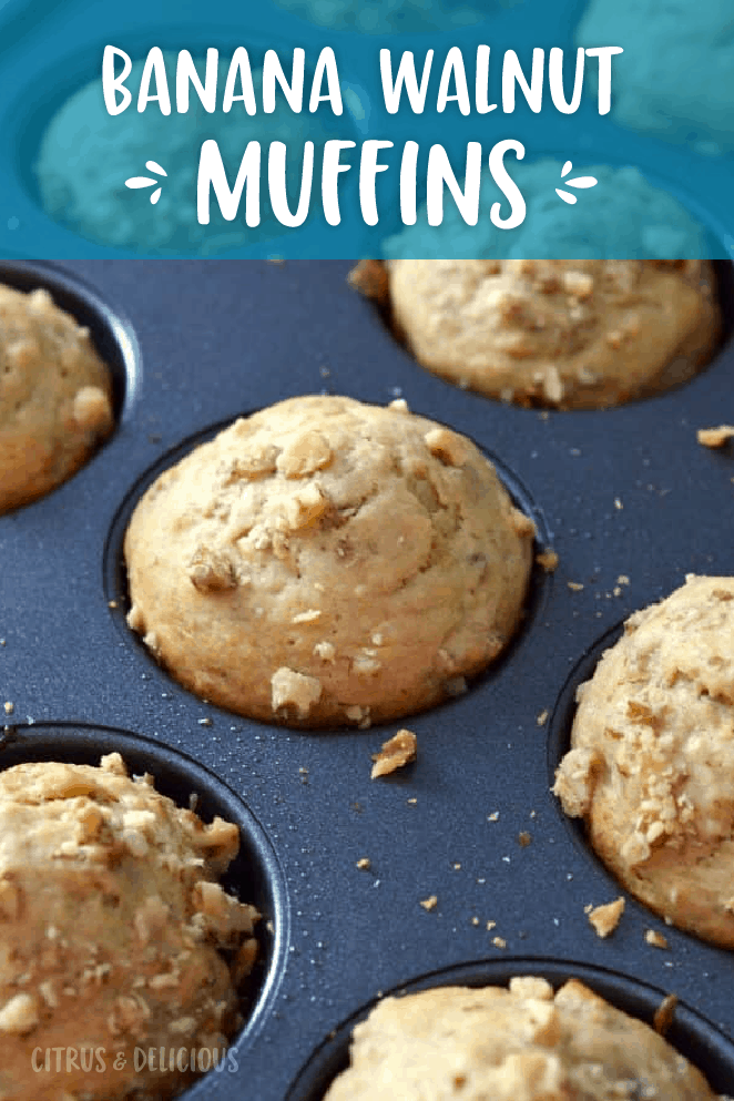 Soft and chewy Banana Walnut Muffins are the perfect muffin for breakfast. Pair with a cup coffee or tea for a perfect morning!
