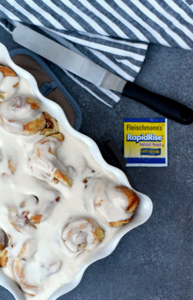 Apple Pie Cinnamon Rolls with frosting.