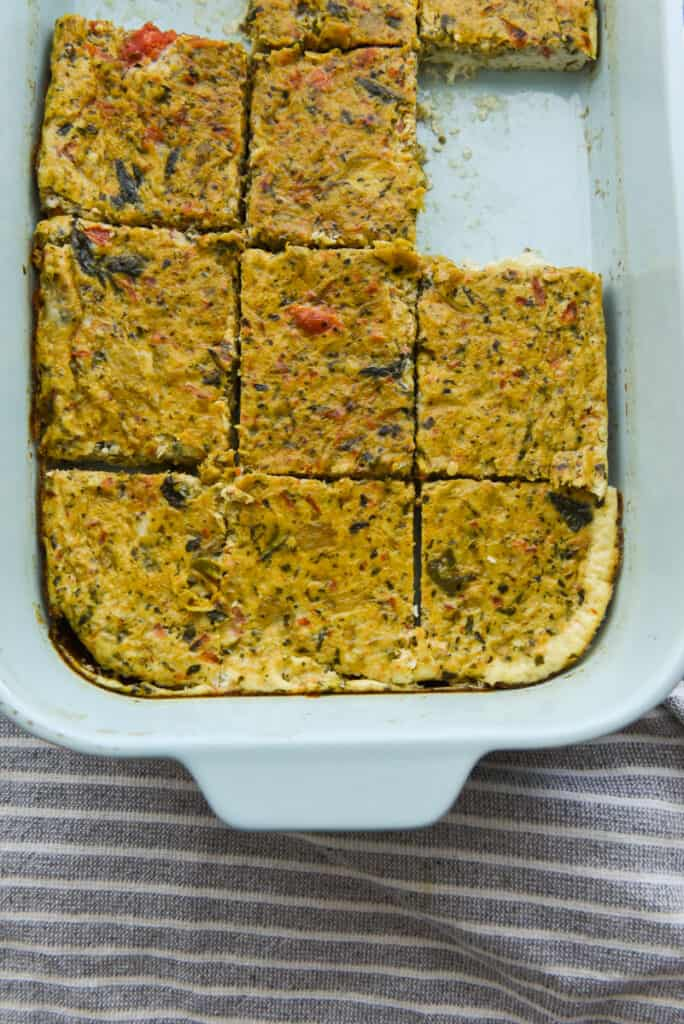 Egg White Frittata Bake casserole with a square taken out of the dish