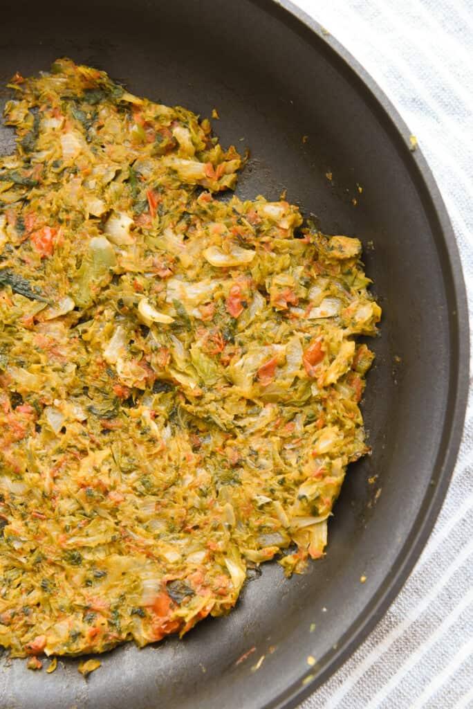 Sauteed veggies in a frying pan